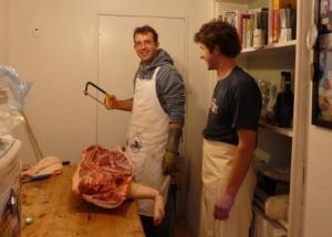 Simon prepares to butcher his first pig